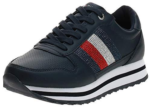 Tommy Hilfiger Damen Tommy Retro Crystal Sneak Sneaker, Blau (Navy Fw0fw04683-Cki), 37 EU
