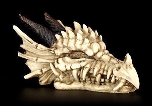 Drachen Totenkopf Figur | Drachenschädel mit Hörnern | Gothic Deko Skelett