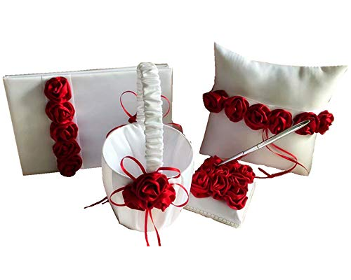 Dollbling Elegant Burgundy Rose Decor Wedding Flower Girl Basket + Ring Pillow +Guest Book + Pen Holder Set