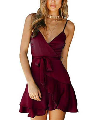 YOINS Damen Kleider Sexy Partykleid Einfarbig Sommerkleid Brautkleid Rockabilly Kleid Swing V-Ausschnitt Party Outfit Damen Weinrot S