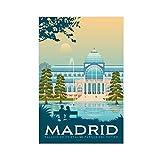 Madrid España Viajes Vintage España Arquitectura Retro Árbol Impresión Ilustración Lienzo Cartel Decoración Dormitorio Pop Art Oficina Decoración Regalo Unframe: 60 × 90 cm