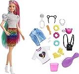 Barbie Leopard Rainbow Hair Doll (Blonde) with...