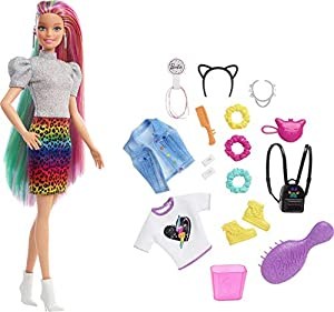Explore a variety of imaginative styles and looks with the Barbie Leopard Rainbow Hair doll (12-in/3040-cm) Brush Barbie doll's long rainbow-colored hair to the side to reveal a beautiful ombre rainbow look! Then activate the color-change feature by ...