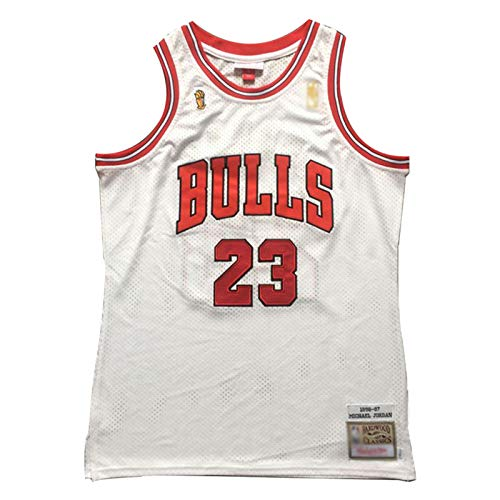 Michael Jordan 96-97 Championship Logo Basketball Trikots #23 Chicago Bulls Classic Herren Stickerei Retro Basketball Uniform T-Shirt (S-2XL) M weiß