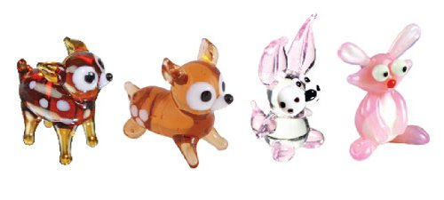 Looking Glass Animals Miniature Collectible, Pack of 4