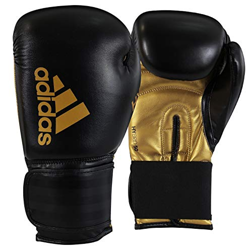 adidas Hybrid 50 Boxing Gloves - Black/Gold, 12 oz