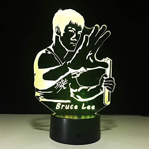 Bruce Lee KungfuVerlichting voor onder keukenkasten 3D-lamp Nachtlampje 3D Led-lamp Nachtlampje voor kinderkamerlamp