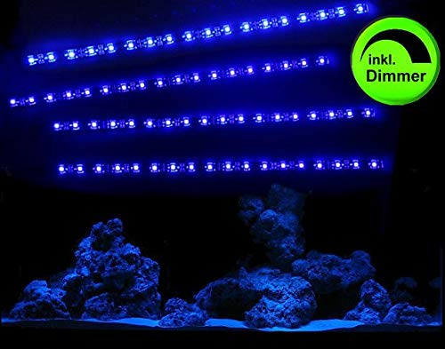 Creative Lights Aquarium Mondlicht, LED LICHTLEISTE 4 x 30 cm + DIMMER Flexi-Slim BLAU Komplettset