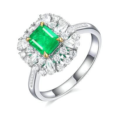 Bishilin Anillo de Compromiso Oro Blanco 750, Cuadrado 0.75 Esmeralda Anillo de Compromiso de Matrimonio Ajuste Cómodo Regalos para Cumpleaños Navidad Oro Blancotamaño: 8