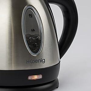 H.Koenig Bouilloire électrique 1,2L Inox BO12 compacte pratique 1630 W, Verre gradué avec Niveau d'Eau Visible, Ebullition Chauffage Rapide, Lavable, Témoin lumineux, Socle 360°