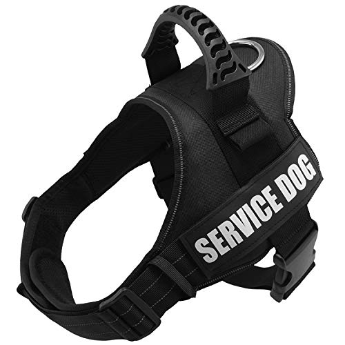 Fairwin Service Vest Dog Harness - Adjustable Nylon with Removable Reflective Patches for Service Dogs Large Medium Small Sizes (XL:Chest 33