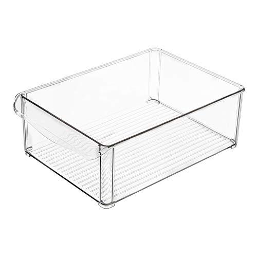 MANTFX Caja De Almacenamiento Transparente para Frigorífico, Cajón para Verduras Apilable De Plástico, Organizador Transparente para Frigorífico para Almacenar Fideos, Verduras Y Frutas (D)