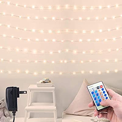 40Ft 120 LED Fairy Lights Dimmable Waterproof Starry Firefly String Lights with Remote Plug in on a Flexible Copper Wire for Christmas Party DIY Wedding Bedroom Indoor Party Decorations, Warm