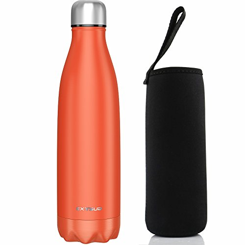 EXTSUD 500ml Botella Exterior de Agua al Vacío Termo de Acero Inoxidable Botella, Naranja