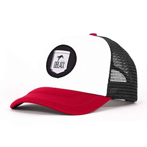 Oblack Gorras de hombre Roja Classic Red Gorras Mujer Beisbol Ajustable con Visera Acolchada y Rejilla Negra - Gorra Trucker