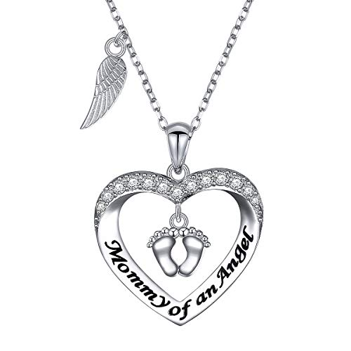 DAOCHONG 925 Sterling Silver Angel Wings Footprint Heart Necklace Mommy of an Angel Necklace Infant Child Loss Pregnancy Miscarriage Stillborn Memorial Jewelry Gift for Mom