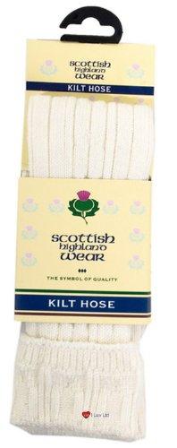 I Luv LTD Mens Kilt Hose Socks 10 Percent Wool Plain White UK 7-11