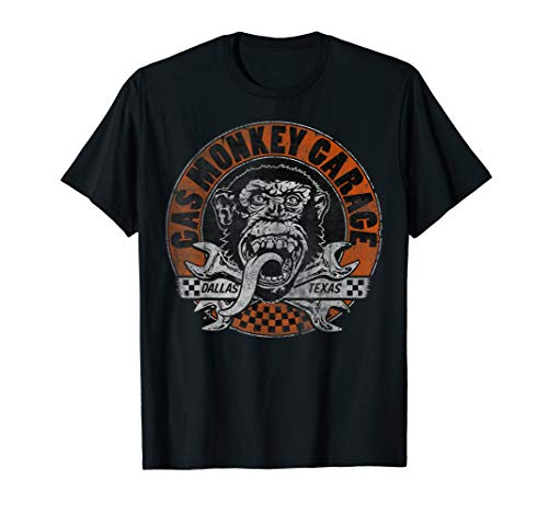 Gas Monkey Garage Orange Checkered Circle Text Logo T-Shirt
