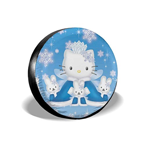 Hello Kitty Cartoon Anime Cute Cat Snow Winter Spare Tire Covers Universal Tire Cover Dust-Proof Waterproof Wheel Covers for Jeep, Trailer, RV, SUV, Truck and Many Vehicle Wheel Diameter-17 inch