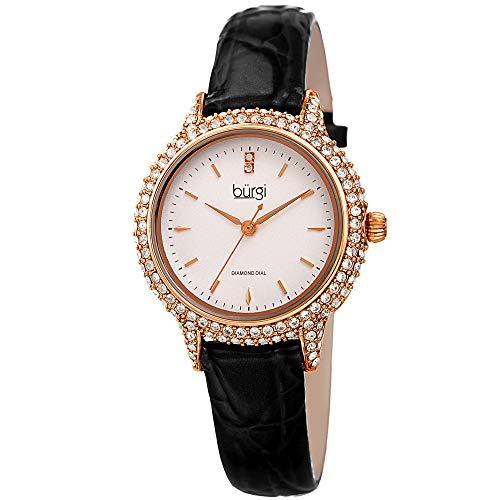 Burgi Swarovski BUR249 Women's Swarovski Crystal Studded Case Watch with...