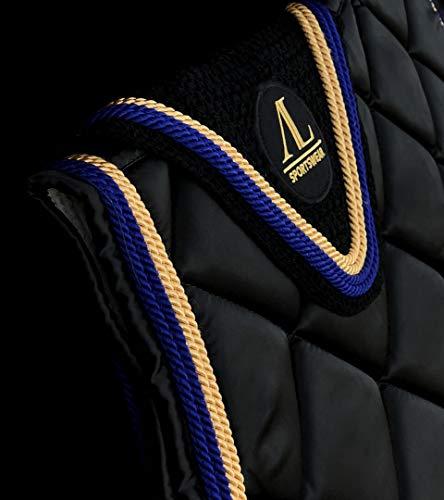 Alexandra Ledermann Sportswear Tapis & Bonnet Cheval Noir 4 Cordes Bleu Roi foncé et Doré
