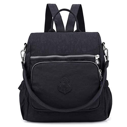 Estwell Rucksack Damen Elegant Schulrucksack Damenrucksack Handtasche Daypack Wasserdicht Nylon Mädchen Schultasche Reiserucksack Anti Diebstahl Rucksäcke, Schwarz