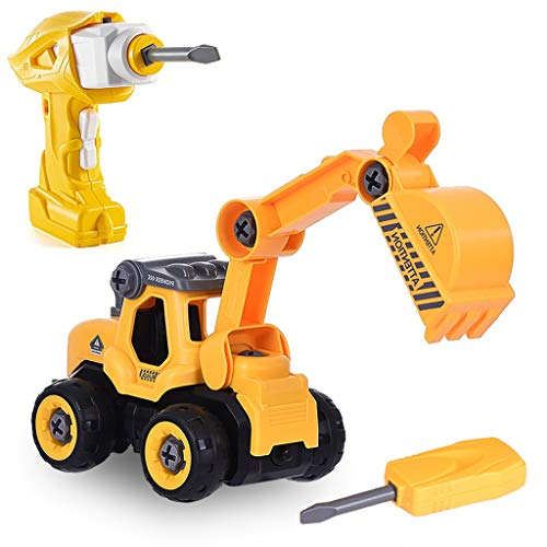 ALWMHWOE Take Apart Toys with Electric Drill Converts to Remote Control Car for Boys, Kid's DIY Educational Birthday