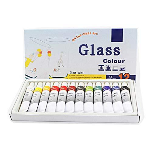 CAFFAINA 12 Colori per Vetro Vernice acrilica Dipinta a Mano pigmenti Disegno Tubi Arte Fornitura