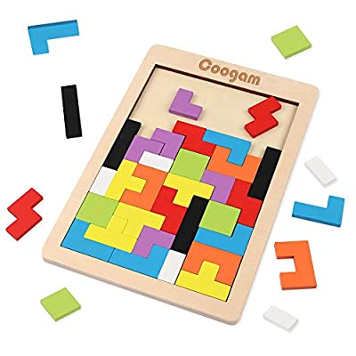 Coogam Wooden Tetris Puzzle Brain Teasers Toy Tangram Jigsaw Intelligence Colorful 3D Russian Blocks Game STEM Montessori Educational Gift for Baby Kids (40 Pcs)