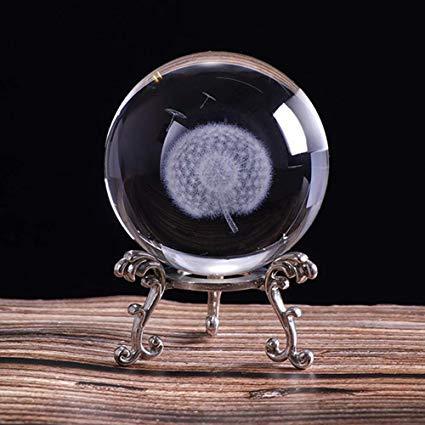 HDCRYSTALGIFTS Briefbeschwerer mit 3D-Schnitzerei, Löwenzahn, Kristallkugel, Glaskugel, mit versilbertem Blumenständer, 60 mm