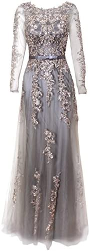 Meier Women s Illusion Long Sleeve Embroidery Prom Formal Dress 14 Silver Grey product image