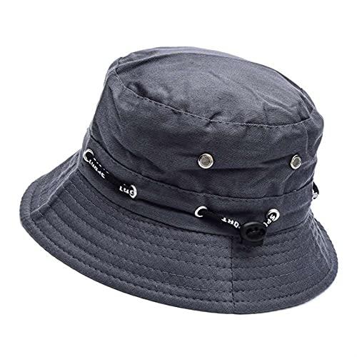 GUOHUU Unisex Cubo Sombrero Sólido Color Plegable Panamá Pescador Sombrero Mujeres Hombres Ancho Brim Protección Sol Hat GUOHUU (Color : Gray, tamaño : Talla única)