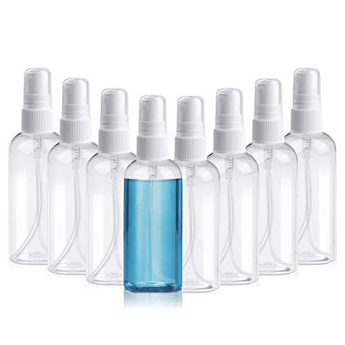 Henscoqi 8 Packs Spray Bottles, 3.38oz/100ml Empty Bottle, Mini Travel Size Spray Bottle Accessories Refillable Container Mist Bottles Clear Travel Bottles for Essential Oil, Perfume, M/U Remover
