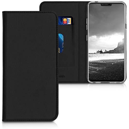 kwmobile LG V40 ThinQ Hülle - Kunstleder Handy Schutzhülle - Flip Cover Case für LG V40 ThinQ - Schwarz