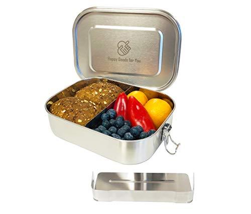 Happy Goods Eco Brotdose aus Edelstahl - Auslaufsicher und herausnehmbarer Trennsteg - 1400ML Fassungsvermögen - Umweltfreundlich, BPA- und Plastikfrei - Ecobox, Metall Vesperdose, Brotbüchse