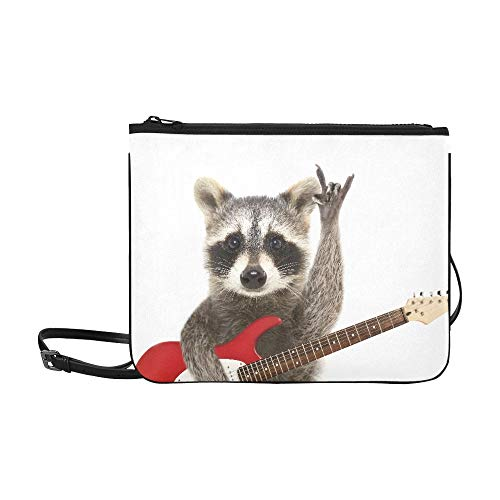 Al aire libre Cross Body Bag Portrait Funny Raccoon Guitarra eléctrica que...