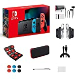Nintendo Switch Console Video Games Neon Blue and Red Joy-Con, 32GB Internal Storage, 6.2' Touchscreen LCD Display, 802.11AC WiFi, Bluetooth 4.1, with GM 14-in-1 Super Kit Case