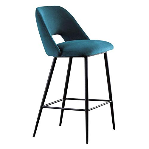 BJLWTQ Bar Stool,Counter, Bar High Stools Office Chair with Soft Velvet Seat and Black Metal Carbon Steel Leg Kitchen Breakfast Dining Chair (Size : Peacock Blue)