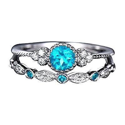 Amazon - Save 80%: Couple Diamond Rings Set Round Crystal Engagement Band Jewelry Wedding Bi…