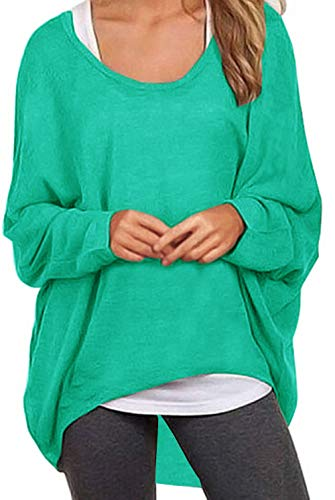 UGET Women's Sweater Casual Oversized Baggy Off-Shoulder Shirts Batwing Sleeve Pullover Shirts Tops Asia M Blue Green