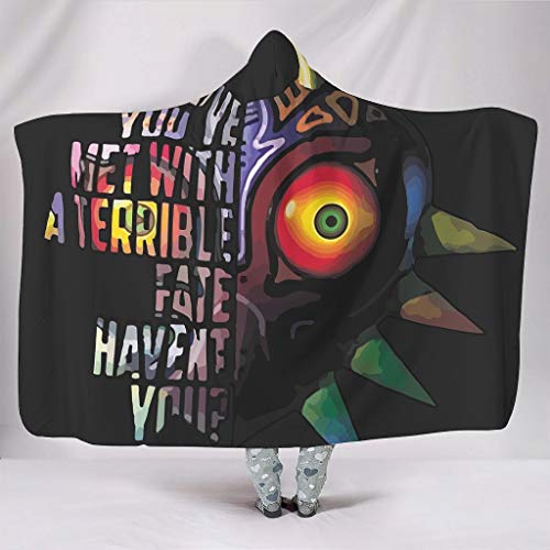 Zhenxinganghu Zelda-Colored Eye Functionele verschillende patronen Hoodie Wearable Super Soft Throw Blanket Wearable Cudddle voor bank in koude omgeving warme stijl Cartoon