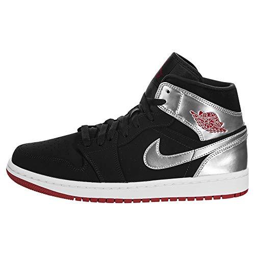 Jordan Nike Air 1 MID Nero/Gym Rosso 554724-057, (nero/rosso palestra/argento metallizzato.), 41 EU