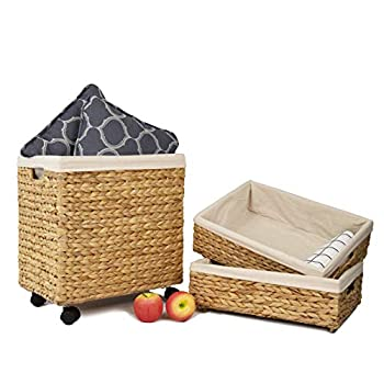 Set of 3 Woven Wicker Shelf Storage Baskets with Wheels Decorative Organiser Baskets for Shelves for Living Room Bathroom Closet and Bath Beauty Products Organizer
