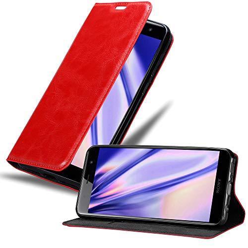 Cadorabo Hülle für Sony Xperia XZ2 Premium in Apfel ROT - Handyhülle mit Magnetverschluss, Standfunktion & Kartenfach - Hülle Cover Schutzhülle Etui Tasche Book Klapp Style