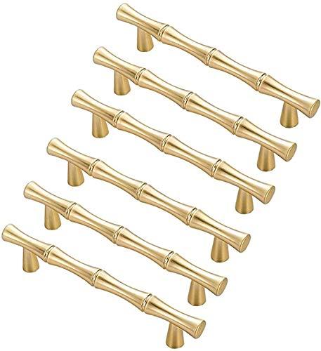 6 Möbelgriffe aus Zinklegierung, Griff für Möbel, Küche, Schrank, Bambus-Optik (Lochabstand: 96 mm, Gold)