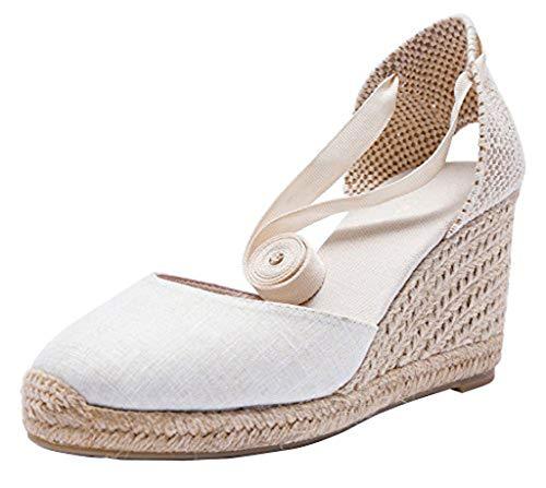 U-lite Cap Toe Platform Wedges Sandals for Women, Classic Soft Ankle-Tie Lace up Espadrilles Shoes White-3' 9