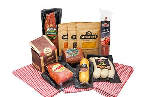 Spezialitäten Geschenk Wurstpaket Kaffee Set gemahlen | Gewürze Geschenkset Schinken Salami Käse Bratwurst Räucherlende Putenschinken 1,9 kg