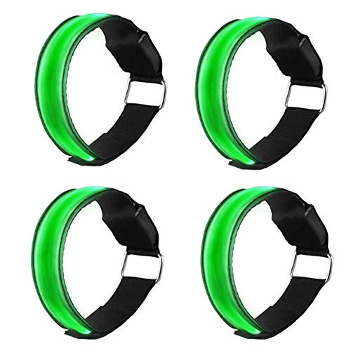 EasyULT 4 Pieza Banda Reflectante, Brazalete LED Running Alta Visibilidad, Cinturón Reflectante de Seguridad para Brazo, Luces LED Intermitentes para Correr, Practicar Senderismo o Ciclismo-Verde