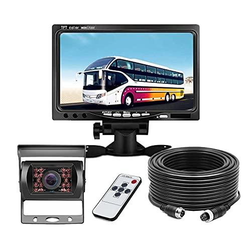 """Rückfahrkamera Mit Nachtsicht Auto,Rückfahrkamera mit IP68 wasserdichte,7\"""" HD Monitor Auto Rückfahrkamera kit(4 Pin)für LKW/Anhänger/Bus/Van/Landwirtschaft(12-24 Volt) Facemoon"""