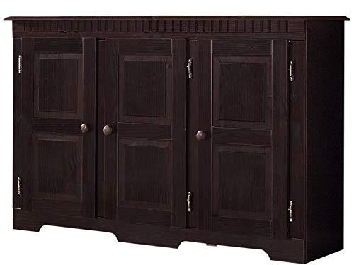 Loft24 Sideboard Kommode Landhaus Kolonialstil Schrank Wohnzimmerkommode Kiefer Holz 121x79 cm, 3 Türen, Dunkelbraun